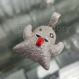 ICED OUT HIP HOP BRASS WHITE GOLD PLATED MICRO PAVE EMOJI GHOST PENDANT