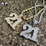 "Hip Hop Iced out Lab Diamonds Savage 21 Pendant & 4mm 24"" Rope Chain Necklace"