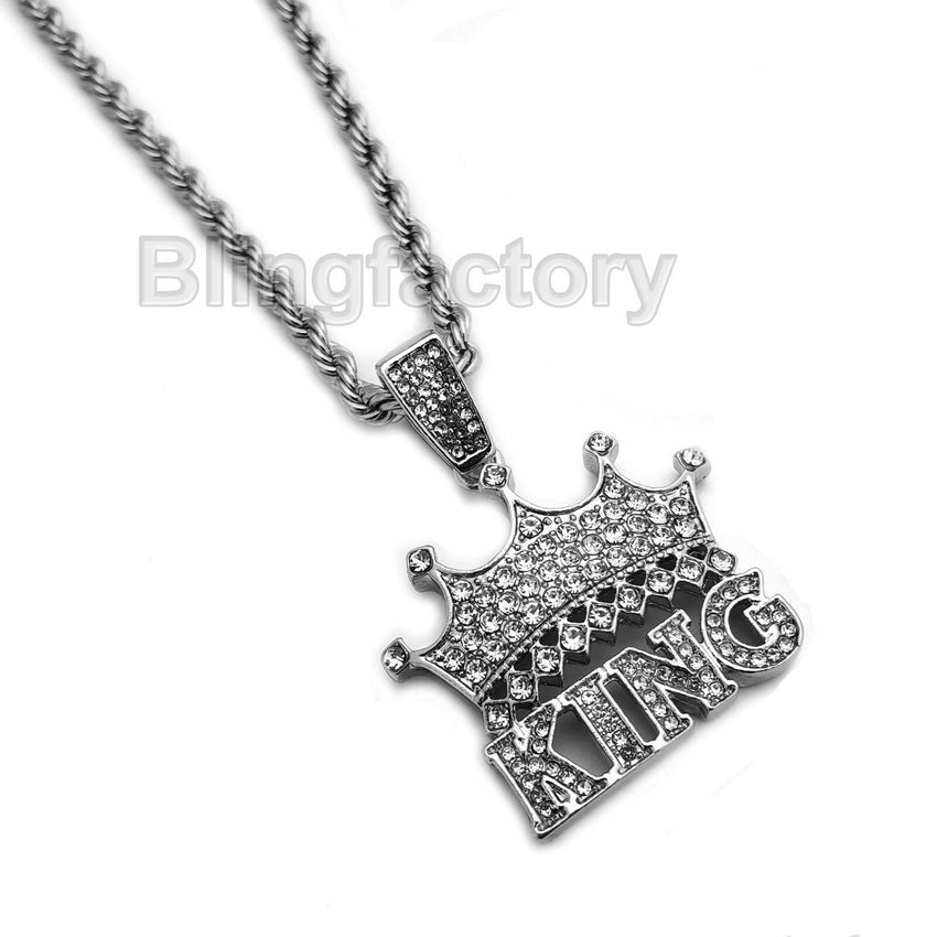 "Hip Hop Iced Saw & Crowned King Pendant & 20"" 24"" Rope, Cuban Chain Necklace Set"