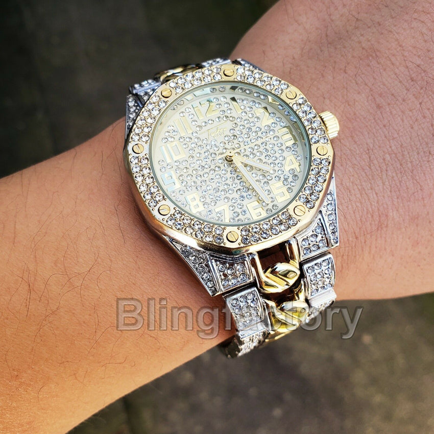 Men's Two Tone Iced out Luxury Migos Rapper's Metal Band Dress Clubbing Watch