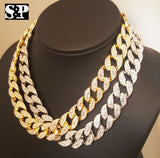 "New Hip Hop Men Quavo Iced Out 15mm 16"" Miami Cuban Choker 2 Chains Necklace Set"