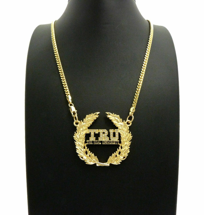 "T.R.U The Real University Pendant w/ 24"" Box, Cuban, Rope Chain Hip Hop Necklace"