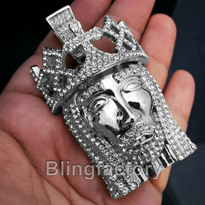 HIP HOP ICED OUT SILVER PLATED BLING LAB DIAMOND LARGE KING JESUS HEAD PENDANT