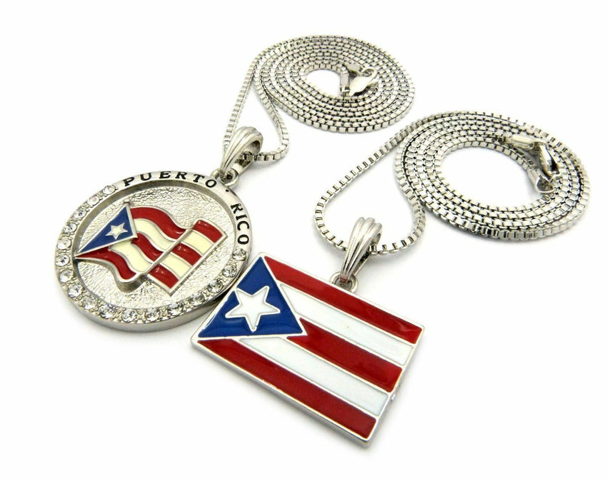 "New Hip Hop Flag Puerto Rico Flag Pendant w/ 2mm 24"",30"" Box Chain Necklace Set"