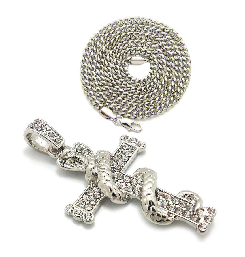 "Iced Out Snake wrapped Cross Pendant 24"" Box, Cuban, Rope Chain Hip Hop Necklace"