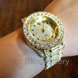 Men Hip Hop Iced out Bling Gold PT Rapper Bling BIG Simulated Diamond Watch