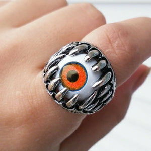 Unisex Eyeball monster teeth Stainless Steel Fashion ring Size 8-12