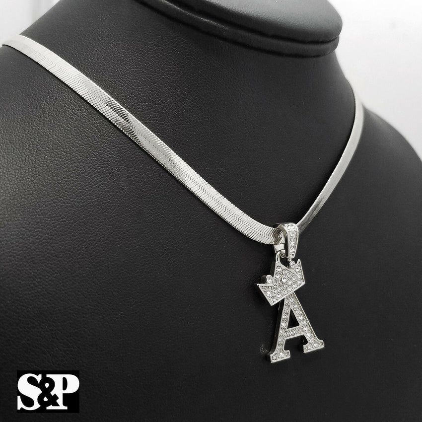"Unisex Iced Out Hip Hop Initial A Pendant & 5mm 20"" Herringbone Chain Necklace"