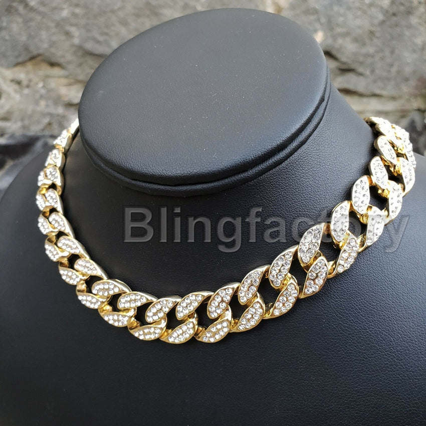 "Hip Hop Bubble Letter ""S"" & 18"" Full Iced Cuban & 1 Row Tennis Choker Chain Necklace Set"