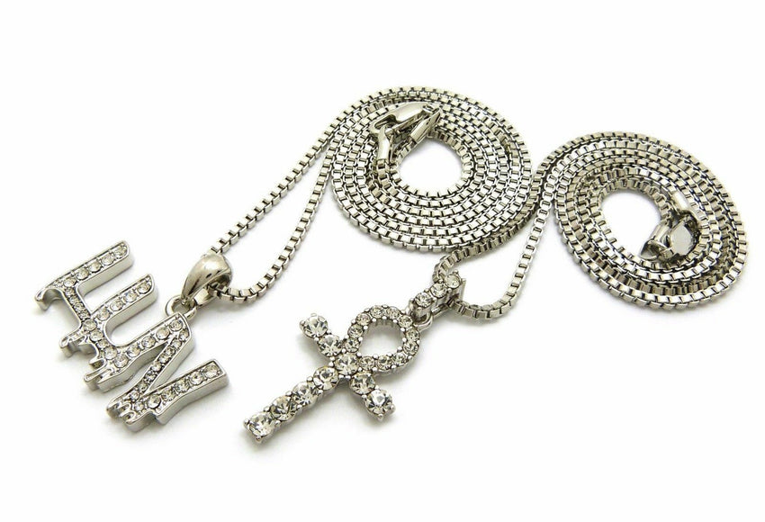 "ICED OUT MINI ANKH CROSS & LUV PENDANT W/ 20"" 24"" BOX CHAIN HIP HOP NECKLACE SET"