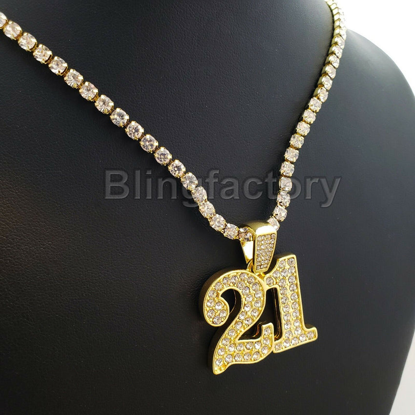 Hip Hop Iced Out SAVAGE 21 Pendant & 1 Row Diamond Tennis Chain Necklace