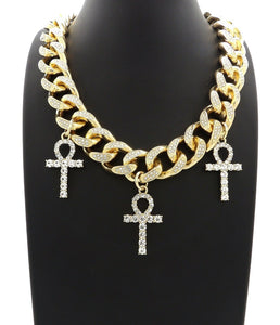 Hip Hop Iced Triple Ankh Cross Pendant & 18