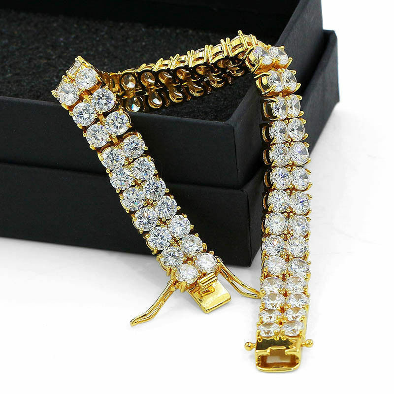 "Men's Gold Plated 2 Row Link Iced Out Brass Lab Diamond Hip Hop Bracelet 8"" Inch"