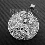 Iced out Hip Hop Stainless steel Silver Tone Holy Jesus Medal Charm Pendant