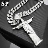 "Jesus Body Pendant & 18"" Full Iced Cuban Choker Chain Hip Hop Necklace Combo Set"