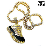 "Men 14K Gold Plated Hip Hop Black Retro 11 Shoe Pendant & 1 Row 18"" Tennis Chain"