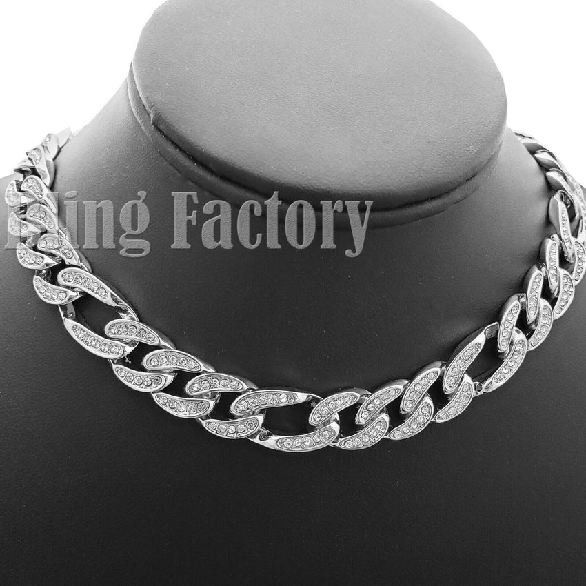 "Hip Hop Men Quavo White Gold PT Iced Out 12mm 16"" Figaro Choker Chain Necklace"