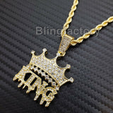 "Hip Hop Iced out Lab Diamond Crowned KING Drip Pendant & 24"" Rope Chain Necklace"