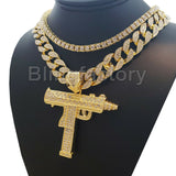"Hip Hop Uzi Machine Gun w/ 18"" Full Iced Cuban & 1 Row Tennis Choker Chain Necklace Set"