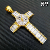 ICED OUT HIP HOP FASHION STAINLESS STEEL CRYSTAL CHRISTIAN CROSS PENDANT CHARM