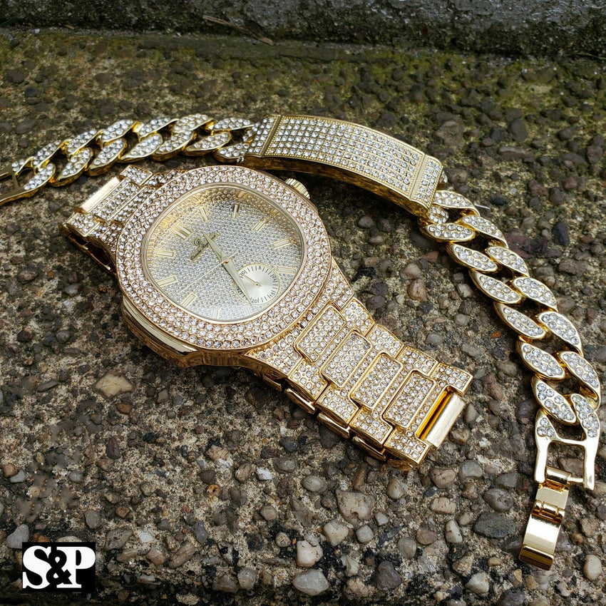 MEN'S HIP HOP GOLD PT BLING LAB DIAMOND WATCH & FULL ICED BRACELET COMBO SET