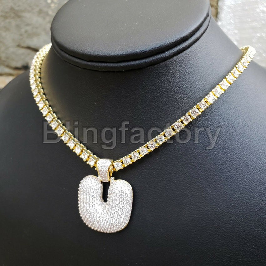 "Hip Hop Bubble Letter ""U"" & 18"" Full Iced Cuban & 1 Row Tennis Choker Chain Necklace Set"