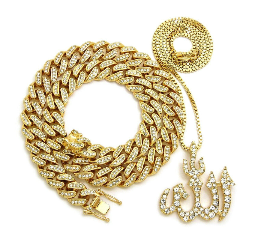 Hip Hop Iced Out Cuban Choker Chain & Muslim Allah Pendant w/ box chain necklace set