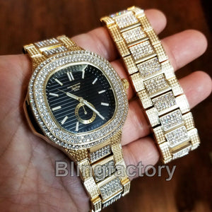 MEN'S HIP HOP QUAVO GOLD PT LUXURY METAL WATCH & ICED BRACELET COMBO GIFT SET