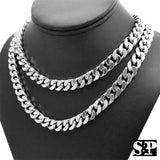 "Hip Hop Rapper's Silver Plated 10mm 18"", 20"" Miami Cuban Choker Chain Necklace"