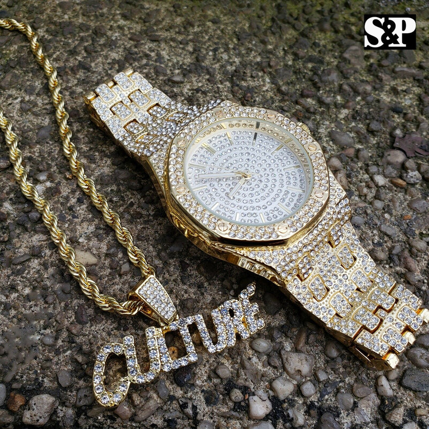 "Men's Hip Hop Iced Out Bling Lab Diamond Watch & ""CULTURE"" Necklace combo Set"