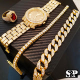 "Hip Hop 18"" Full Iced Choker Chain & 1 ROW DIAMOND CHAIN & Watch & Ruby Ring Set"