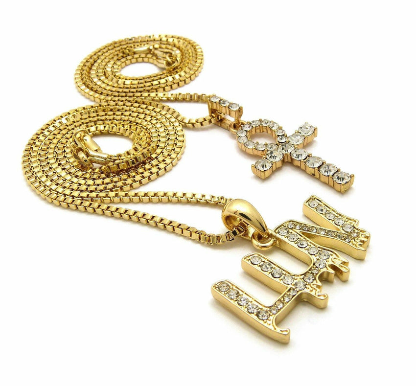 "ICED OUT MINI ANKH CROSS & LUV PENDANT & 20"" 24"" BOX CHAIN HIP HOP NECKLACE SET"