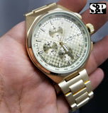 Men's Luxury Gold finish Stainless Steel Geneva Bling Metal Band Wrist Watch