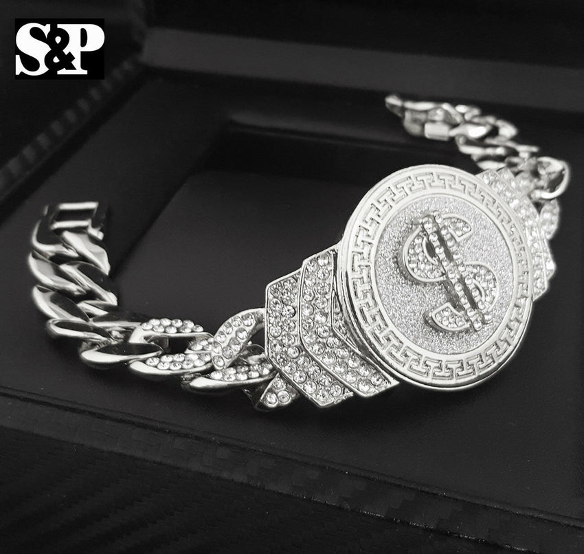"Hip Hop White Gold Plated 8.5"" CZ Full Iced Out $ Money Symbol Cuban Bracelet"