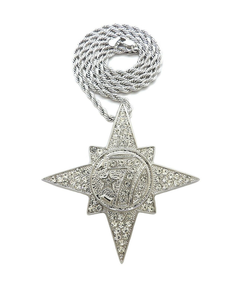 "HIP HOP ICED OUT 5PERCENTER STYLE 7 STAR PENDANT & 4mm 24"" ROPE CHAIN NECKLACE"