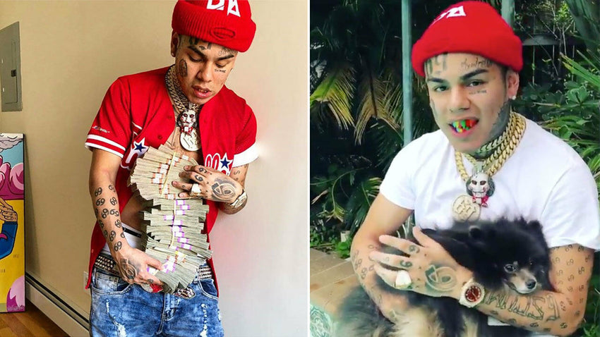 "Hip Hop Iced out Tekashi69 Jigsaw pendant & 10mm 18"" Gucci Choker Chain Necklace"