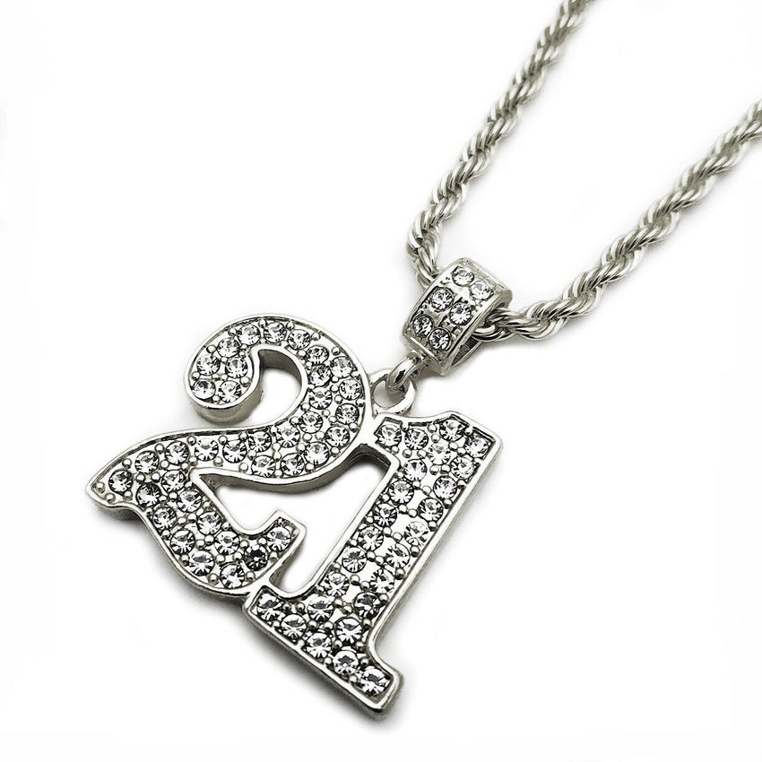 "Hip Hop Iced Out Lab Diamond Savage 21 Pendant & 24"" Rope Chain Necklace"