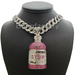 Hip Hop Lab Diamond Syrup Bottle Pendant & 18