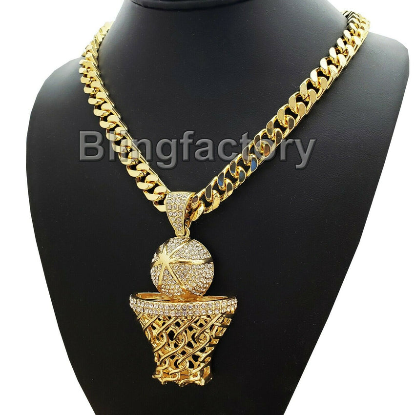 "Large Gold Basketball Rim Pendant & 10mm 30"" Cuban Heavy Chain Hip Hop Necklace"