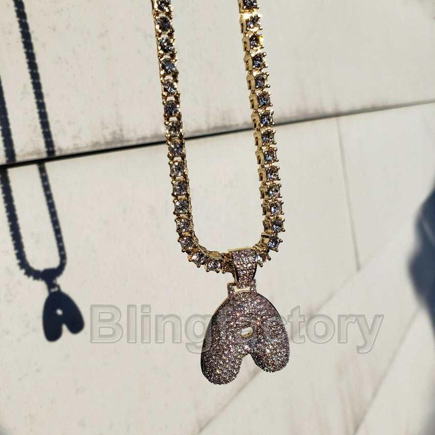 "Hip Hop Bubble Letter ""A"" Brass Pendant & 20"" 1 Row Tennis Choker Chain Necklace"