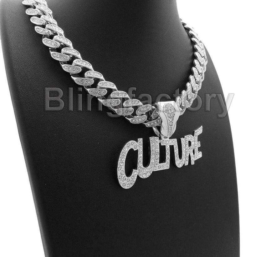 "Hip Hop Migos CULTURE & 12mm 18"" Full Iced out Cuban Link Choker Chain Necklace"