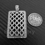 HIP HOP ICED OUT STAINLESS STEEL LAB DIAMOND URBAN STYLE SQUARE PENDANT
