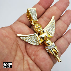 HIP HOP ICED OUT RAPPER STYLE LAB DIAMOND GOLD PLATED BABY ANGEL LARGE PENDANT