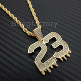 "Hip Hop Iced out Lab Diamond Number 23 Drip Pendant, 4mm 24"" Rope Chain Necklace"