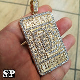 HIP HOP ICED OUT GOLD PLATED LAB DIAMOND RAPPER'S LARGE DREAM CHASERS DC PENDANT