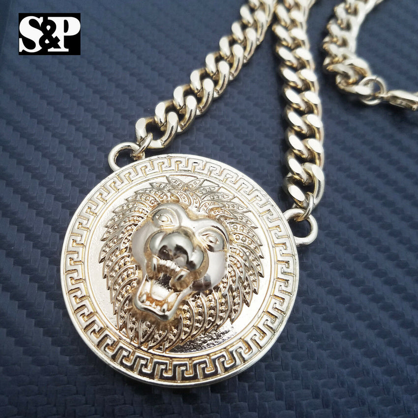 "Hip Hop Gold Plated Lion Necklace & 18"" Full Iced Cuban Choker Chain Necklace set"