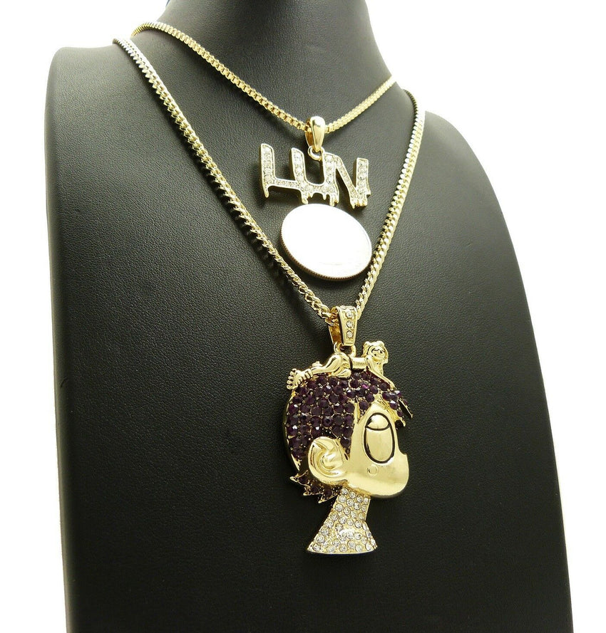 "ICED OUT LIL UZI VERT PAVE CARTOON & LUV PENDANT W/ 24"" 30"" CHAIN NECKLACE SET"