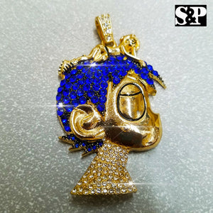 FULL ICED HIP HOP RAPPER'S LIL UZI VERT CARTOON CHARACTER PENDANT