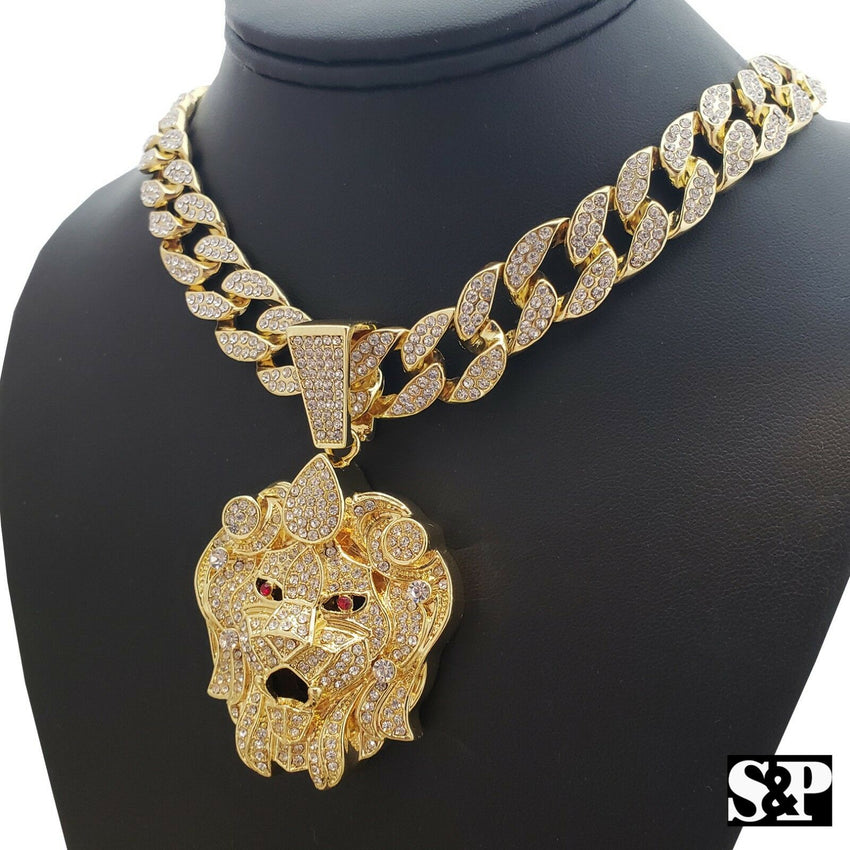 "Hip Hop Lion Head Gold PT pendant & 18"" Full Iced Cuban Choker Chain Necklace"