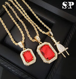 "Men Gold Plated Fashion 2 Pieces Ruby Set & Power Plug w/ 30"" & 24"" Rope chains"